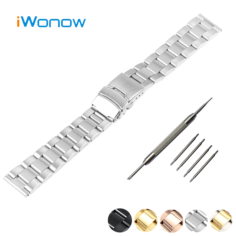 Stainless Steel Watch Band 20mm Ticwatch 2 42mm Safety Buckle Watchband Strap Wrist Belt Bracelet Black Silver Gold - Udemand Tech Limited store
