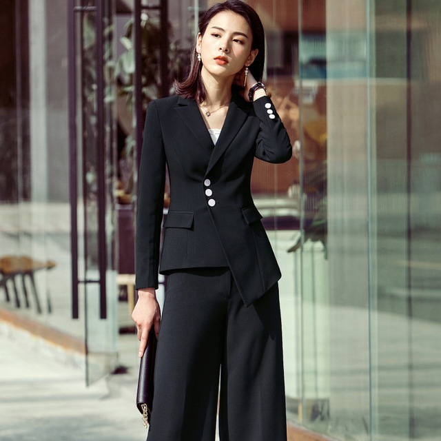 93f70139268f Two Piece Suit Set Tailleur Femmo Long Sleeve Blazer & Professional  Overalls Pant Suits for Women Plus Size Workwear OL Set