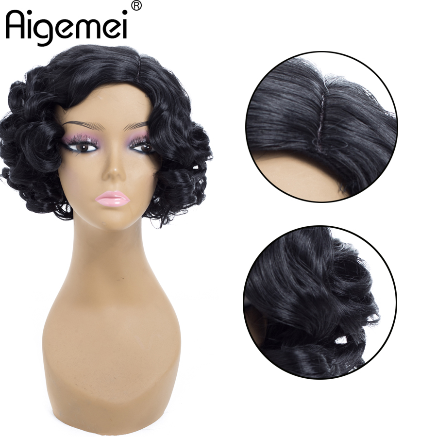 Aigemei Wigs Short Loose Deep Wave Heat Resistant Synthetic Wigs for Woman Machine Made Short Wigs 10 Inch 185g Natural Black in Synthetic None Lace Wigs from Hair Extensions Wigs