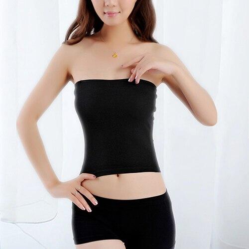 Femme Boobtube Bandeau Sans Manches Extensible Courte Près Du Corps Top Mini Robe