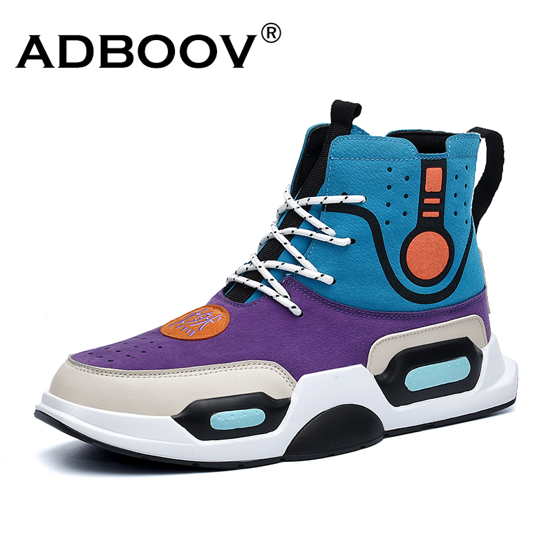 ADBOOV New Fashion High Top Sneakers Men Autumn Street Hip Hop Shoes Man Trendy Casual Shoes Sepatu Pria adboov fashion camo sneakers men hip hop shark low top skateboarding shoes lace up street leather casual shoes flats