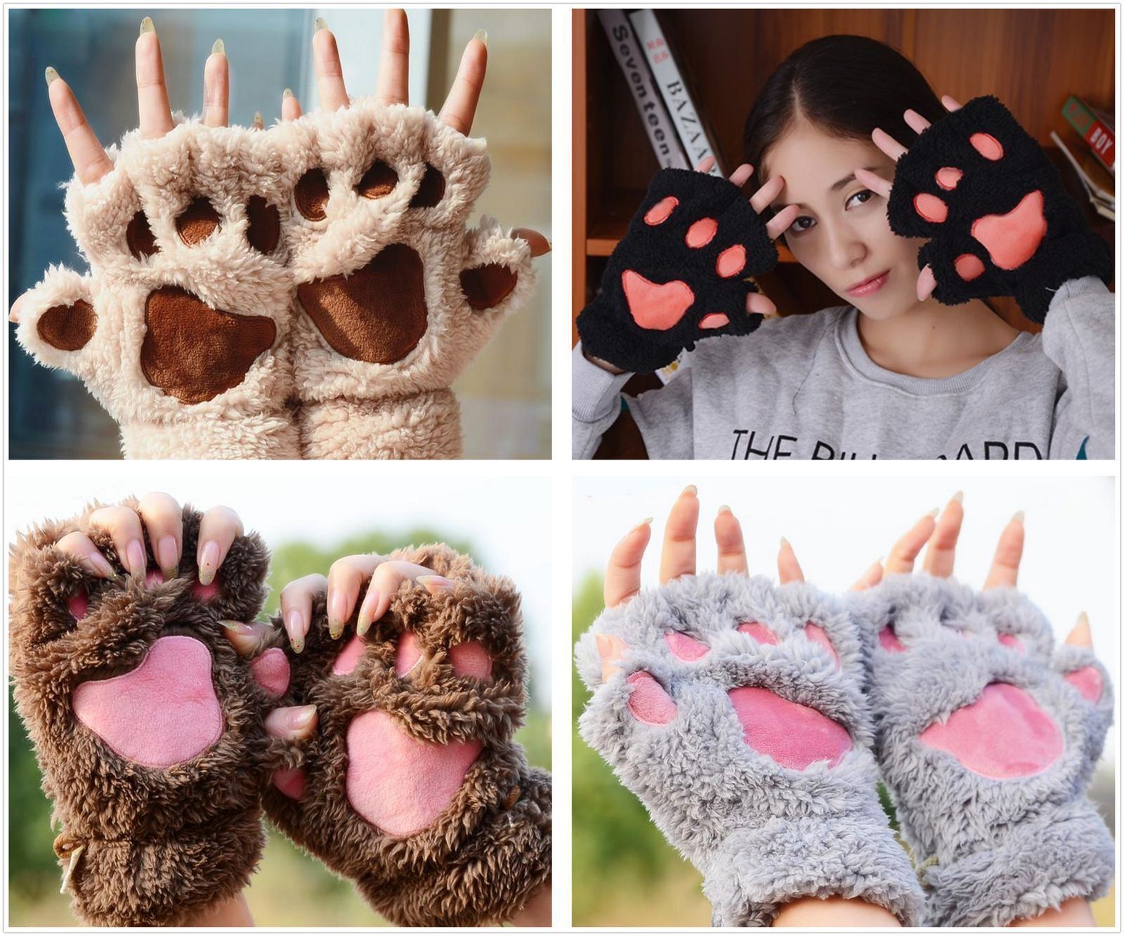 ITFABS Newest Arrivals Fashion Hot Cute Women Cat Claw Paw Mitten Plush Glove Costume Cute Winter Half Finger Gloves