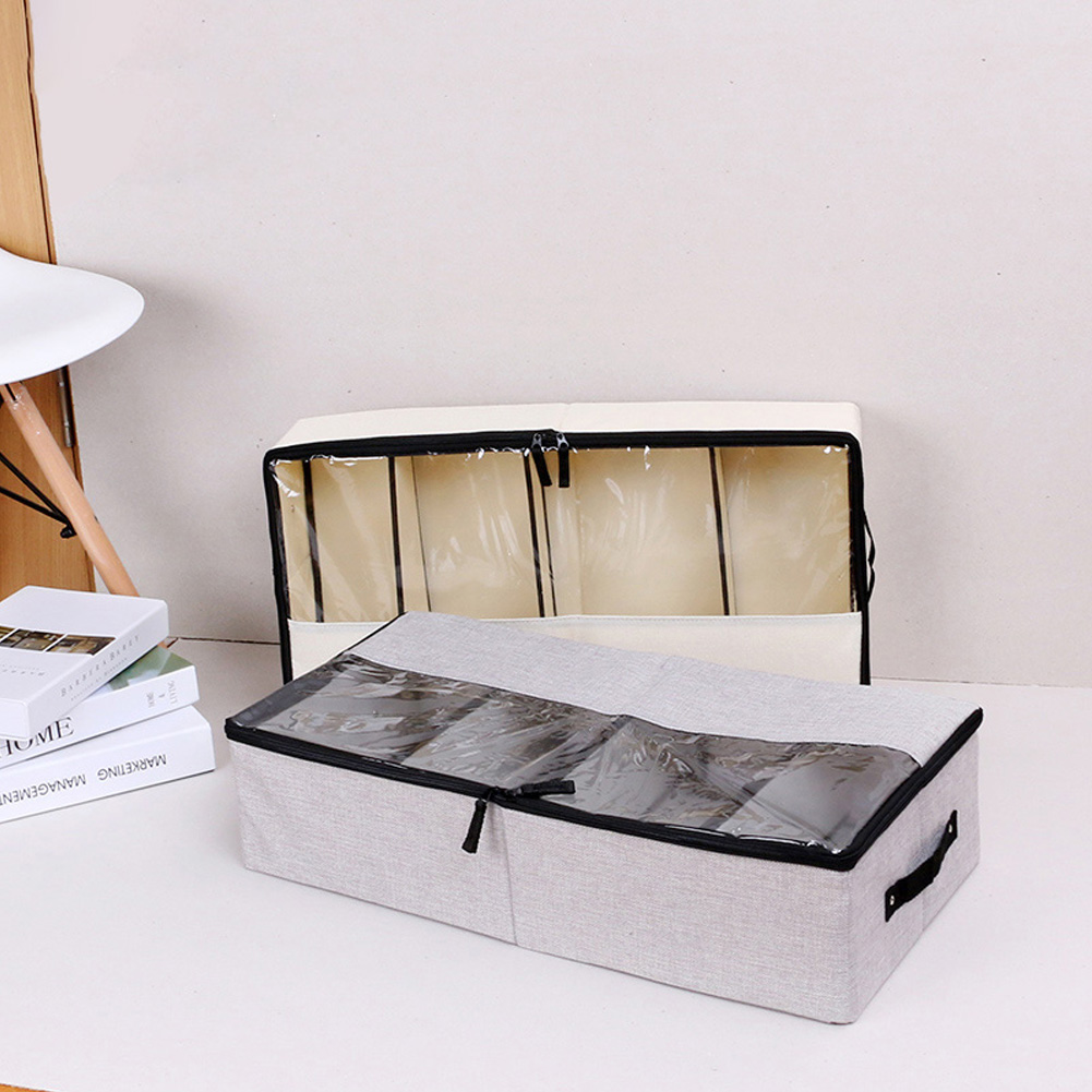 Shoe Clothes-Organizer Storage-Box Space-Saver Square Under-The-Bed Handle Breathable