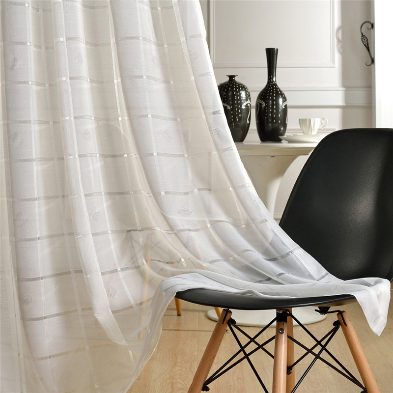 Kitchen Curtain Fabric: {byetee} Plaid White Modern Bedroom Curtain Fabric Tulle