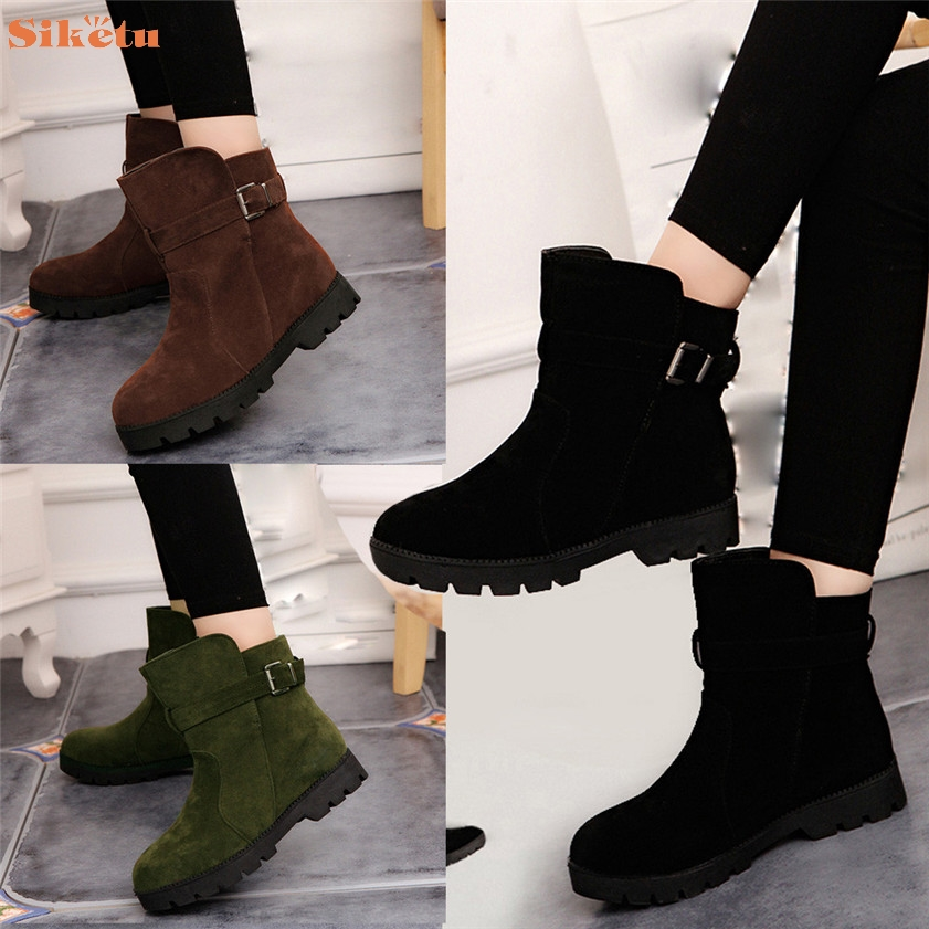 High quality Women Winter Warm Snow Ankle Boots Buckle Match Solid Martin Boots Shoes only true love high quality women boots winter snow boots