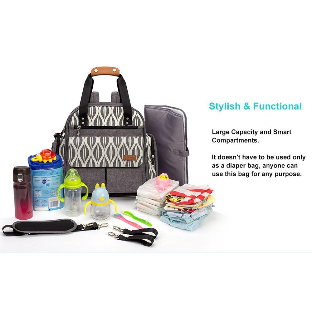 Expandable Grey Diaper Bag for Mom