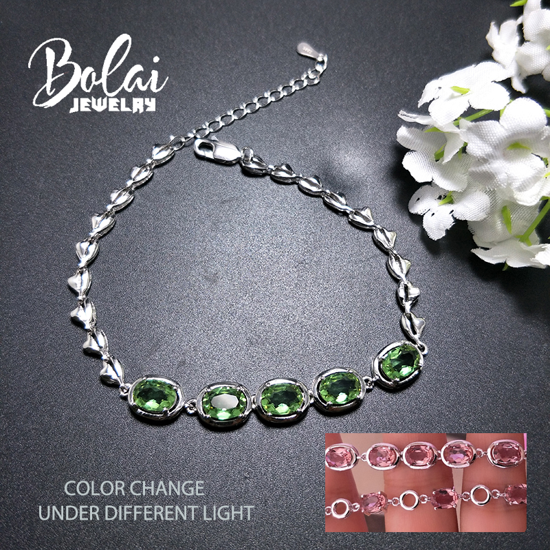 Bolaijewelry amazing color change created zultanit diaspore bracelet 925 sterling silver fine jewelry for girls gift