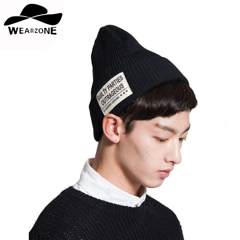 2016 High Quality Warm Wool Caps Knitted Beanies Hat letter pattern Infinity Scarf Winter Skullies Cap