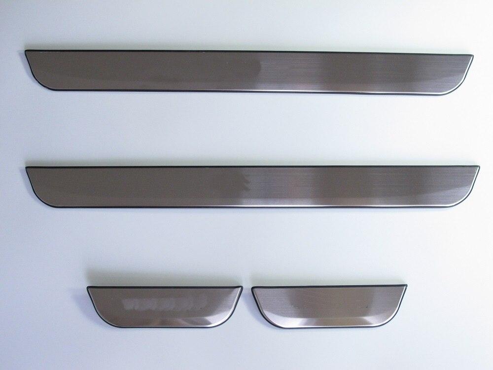 Couverture de plaque de seuil de seuil de porte en acier inoxydable et en plastique bleu LED pour Nissan QASHQAI 2014 2015 2016 2017 accessoires
