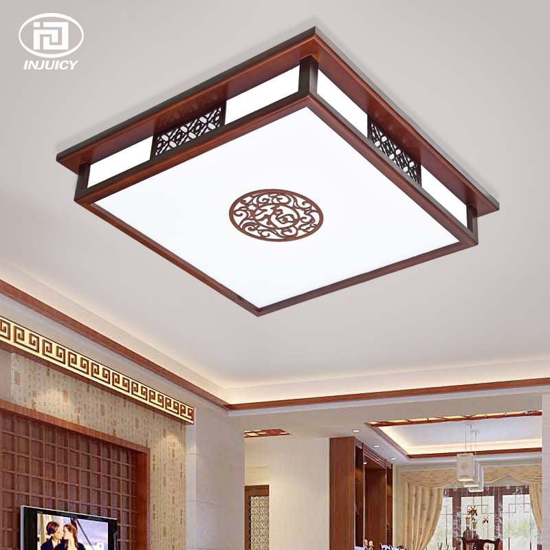 Chinese Style Vintage Wood Acrylic LED Ceiling Lighting Living Room Bedroom Balcony Porch Wooden Dining Room Ceiling Lamp