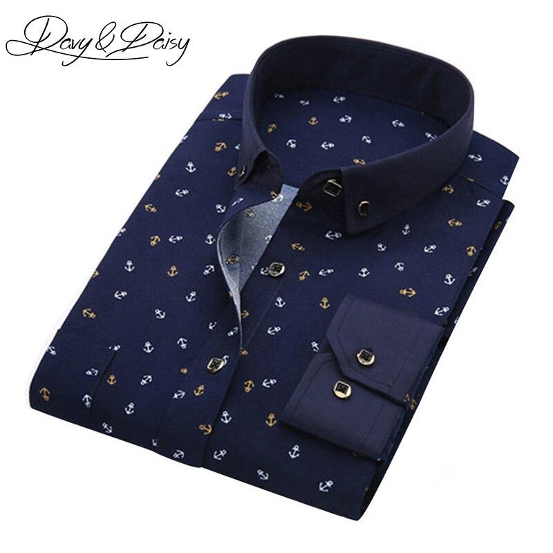 Davydaisy Весна Для мужчин рубашка социального платье принт Повседневное Slim Fit рубашка с длинными рукавами Для мужчин одежда Camisa masculina ds-044
