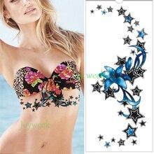 75eb9980a RCLNDP Waterproof Temporary Tattoo Sticker blue lily star on chest waist