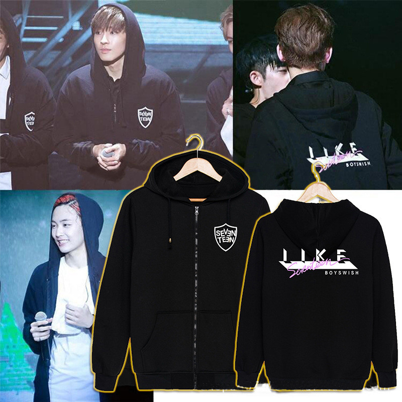 US $47 5 | KPOP Korean Fashion SEVENTEEN 17 Album Concert Style Boys Cotton  Hoodies With Hat Clothes Pullovers Sweatshirt PT171-in Hoodies &