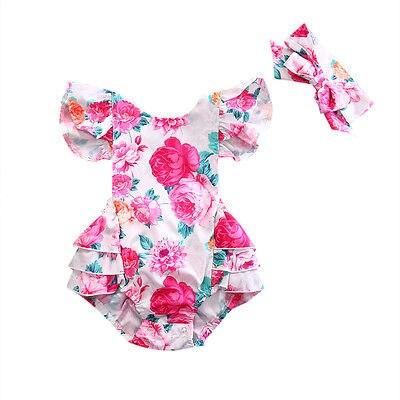 2Pcs/Set Newborn Infant Baby Girls Floral Backcross   Romper   Jumpsuit One-Piece Sunsuit +Headband Clothes 0-2T