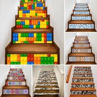 6pcs 1Set 3D Vision Tile Stairs Stickers Waterproof Eco Friednly Stone Mosaic Pattern Home Decoration Accessories