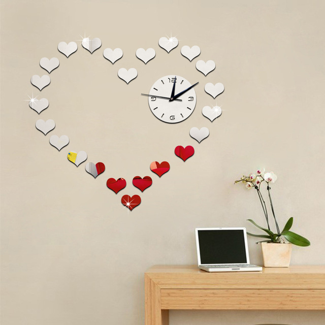 Eco-Friendly 3D Mirror Wall Clock with Heart-Shaped Frame