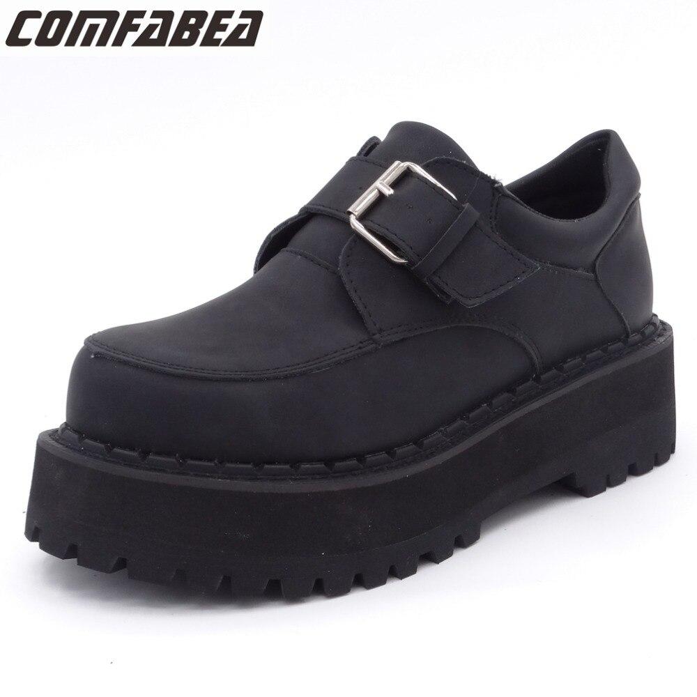 COMFABEA Printemps Automne mocassins plats pour femmes 2019 Creepers chaussures à semelles compensées Punk Boucle Étudiant Chaussures Dames chaussures décontractées