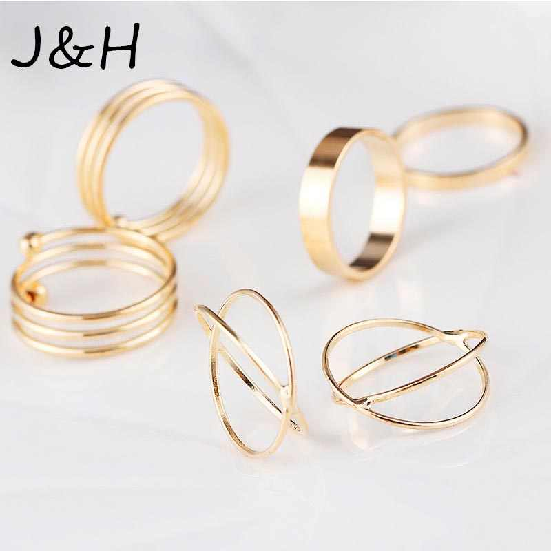 6 PCS/lot Unique Ring Set Punk Knuckle Rings For Women Gold Color Finger Ring Best Selling Drop Shipping