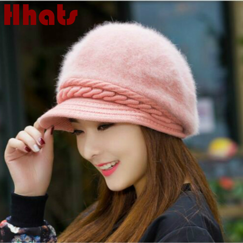 fashion rabbit fur winter hat solid thick warm knitted female cap outdoor women fleece lining   skullies     beanie   drop shipping