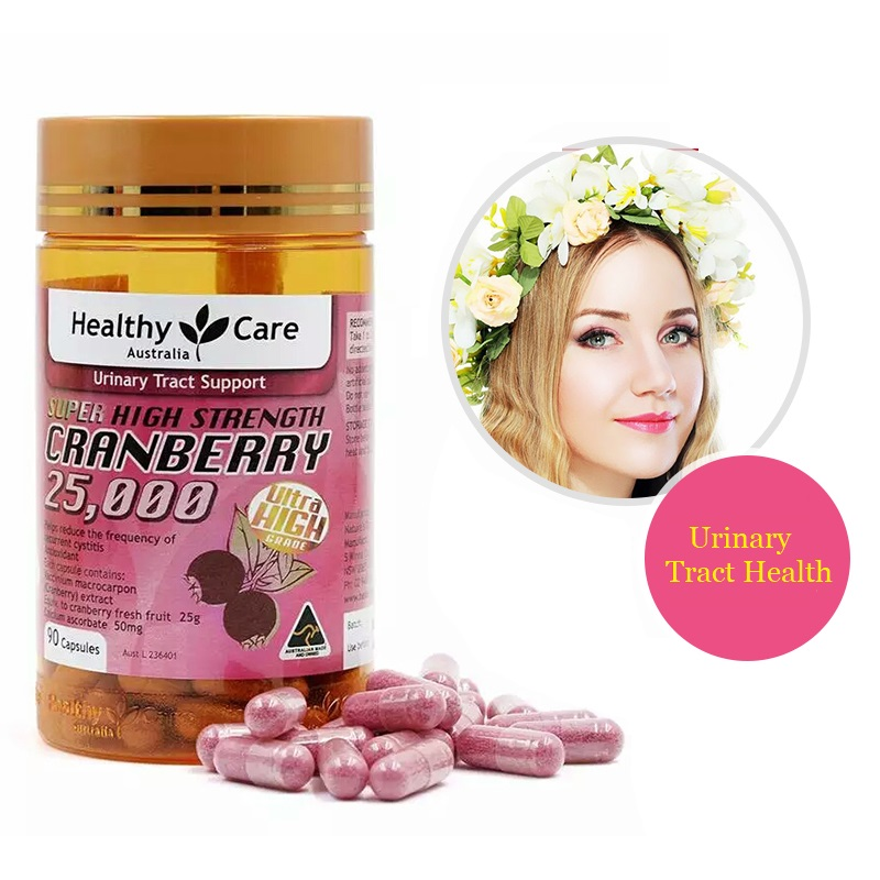 Australia Healthy Care Cranberry 90 Caps Support Urinary Tract Health Symptomatic Relief Recurrent Cystitis Frequent Urination