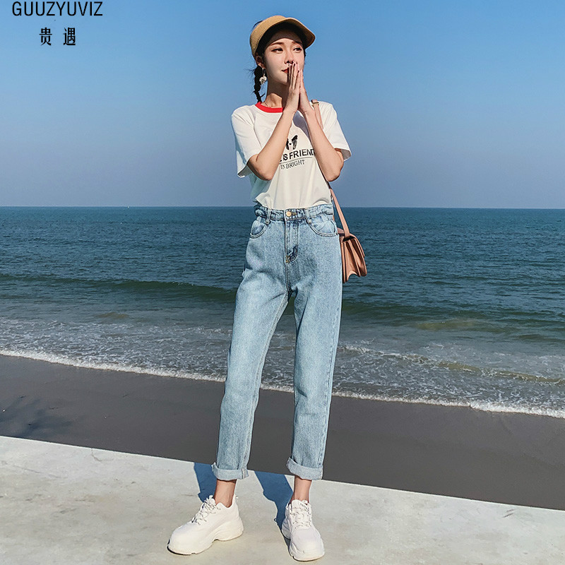 GUUZYUVIZ Vintage Jeans Woman Ladies Pencil Jeans For Women High Waist Casual Denim Trousers Korean Streetwear Jean Pants Mujer