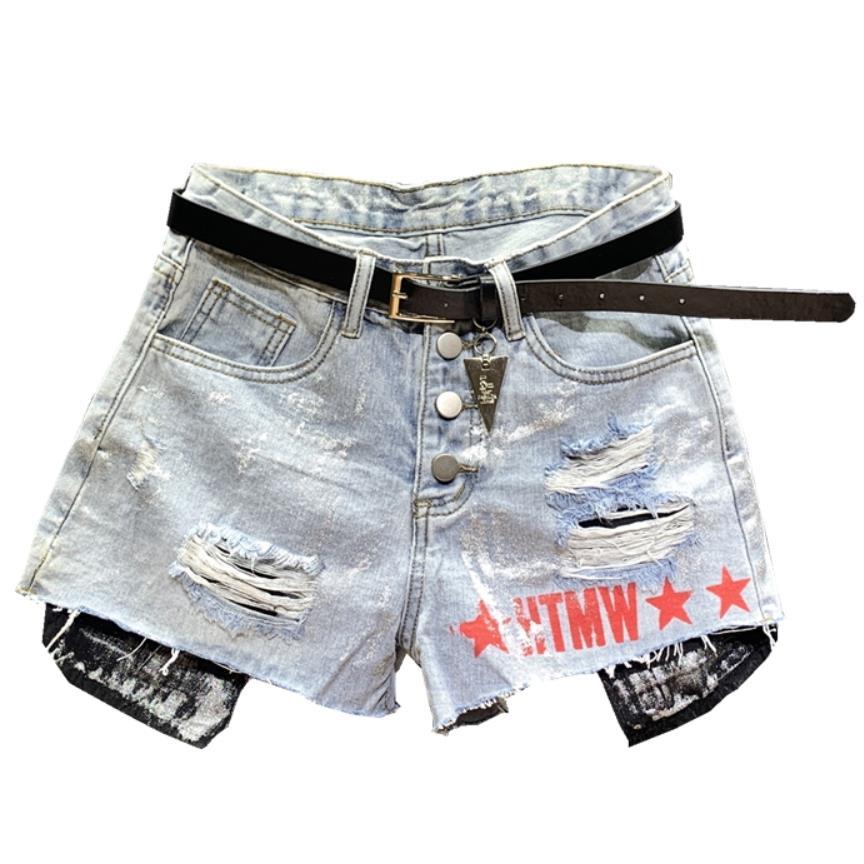 2019 Summer New Glitter Fashion Denim Shorts Women Hole Letter Printed High Waist Jeans Shorts