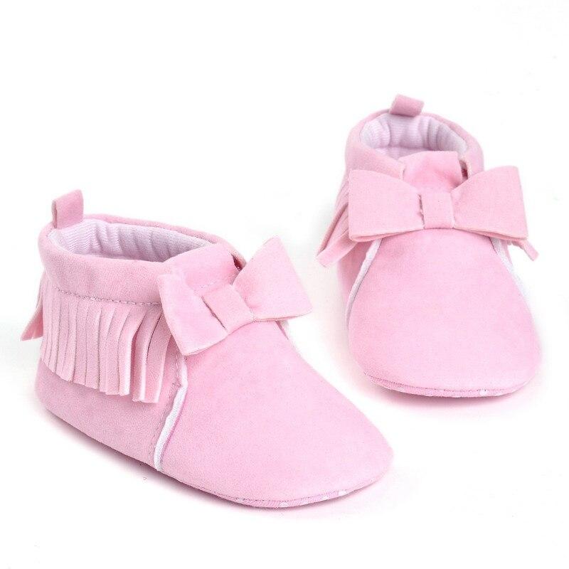 Autumn Winter Baby Boy Girl Soft First Walkers Soft Soled Non-slip Flock Shoes Bow Tie Footwear Crib Newborn Leather Tassel Shoe