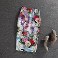 Novo Verão Europeu Estilo Senhoras Moda Moderna Beleza Floral Impressão Midi Saia Lápis de Cintura Alta Saia Midi saia longa plissada