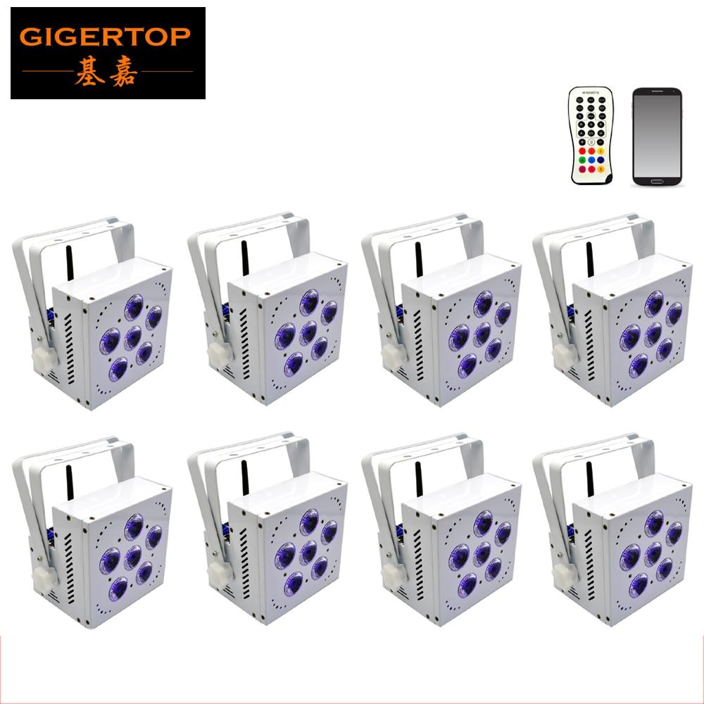 Freeshipping 8 enhet 6 x 15W batteridrivna lampor vit väska RGBW bärnsten LED trådlösa DMX-lampor / led-upplyft bröllop disco