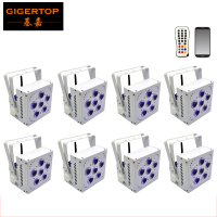 Freeshipping 8 Unit 6x15W Battery Powered Up Lights White Case RGBW Amber LED wireless DMX uplights/led uplights wedding disco