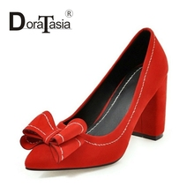 DoraTasia Big Size 33-43 New Office Lady Women Sweet Bowtie Shoes Vintage Chunky Heels Pointed Toe Party Pumps Woman