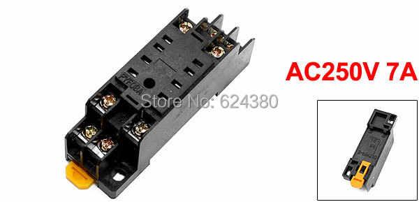 Ca 250 V 7A 35mm DIN Rail plat 8 broches 8 P usage général prise de relais de puissance Base PYF08A