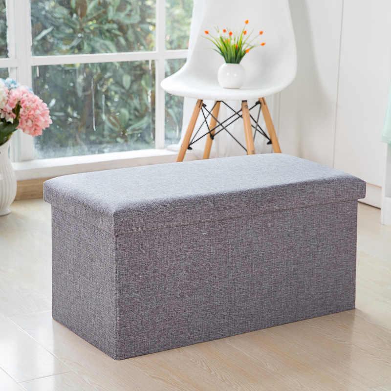 Storage organizer sofa new style flax collapsible multifunction storage box stool fashion Pastoral Fabrics armchair storage box