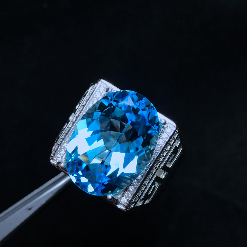 Natural Topaz Gem 10 Carat Male Ring - Gifts For Him Under $500