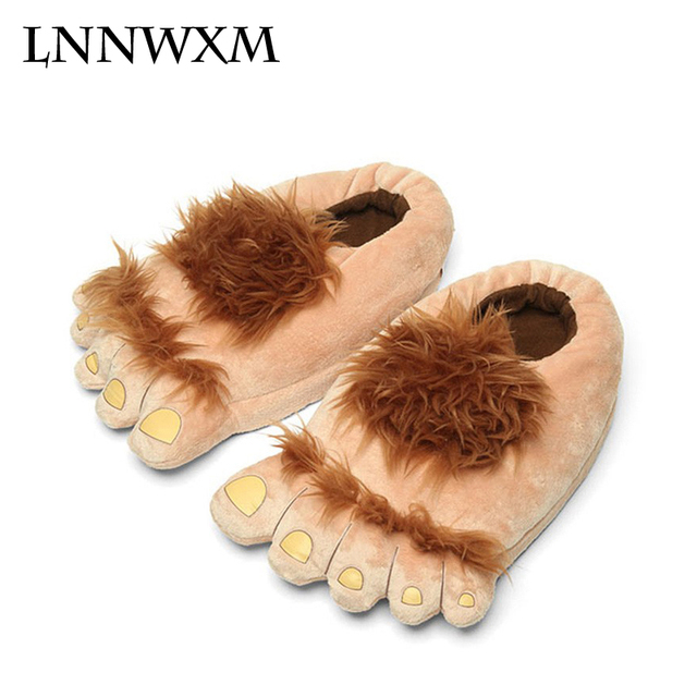 Winter Warm Indoor Slippers Hobbit Halloween Monster Hobbit Slippers Feet Slip-On Soft Home Anim cd2c35