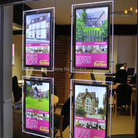 (3unit/column) A4 Single Side Suspended Portrait LED Window Display,Led Illuminated Poster Frames with U Pocket