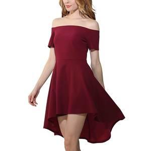 Knee-Length-Dress Word-Shoulder Spring Fashion Medium-Waist Korean-Style Womens Solid
