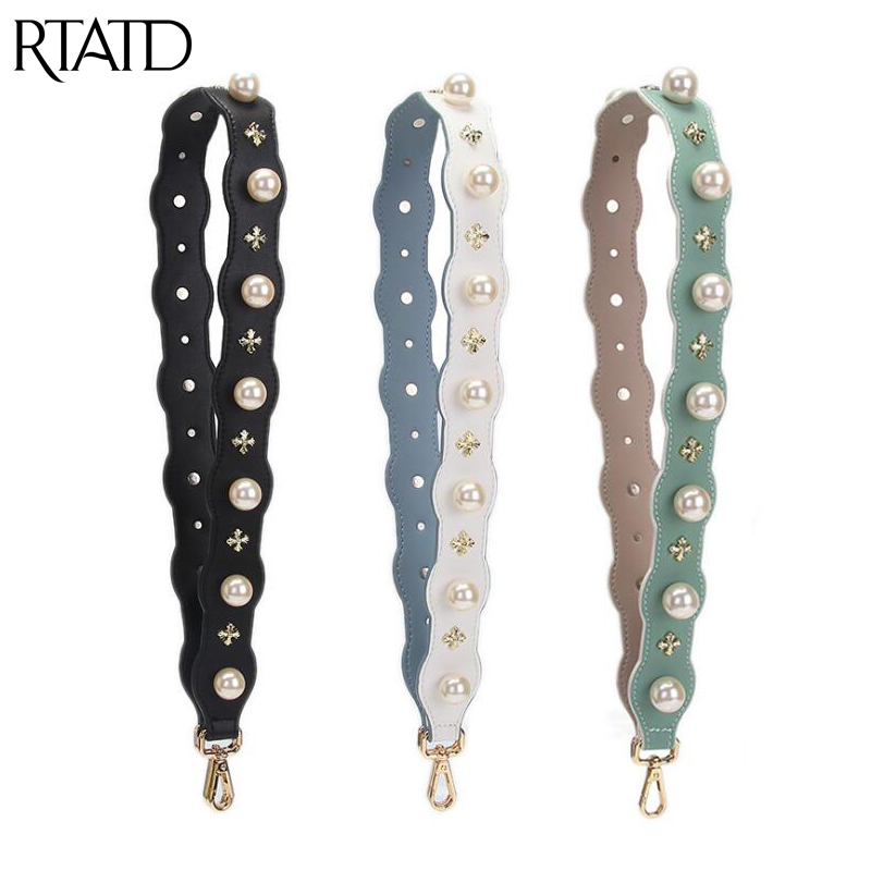 RTATD New Chic Bags Strap With Pearls And Rivets Handbag Belt Trendy Design Bag Parts Ea ...