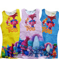 2017 Bebé Vestido de la Muchacha de TROLLS Magia de Dibujos Animados de Verano de Algodón Trolls Trajes Del Vestido de Partido de Las Muchachas Vestidos de los Cabritos Niños Vestido H684