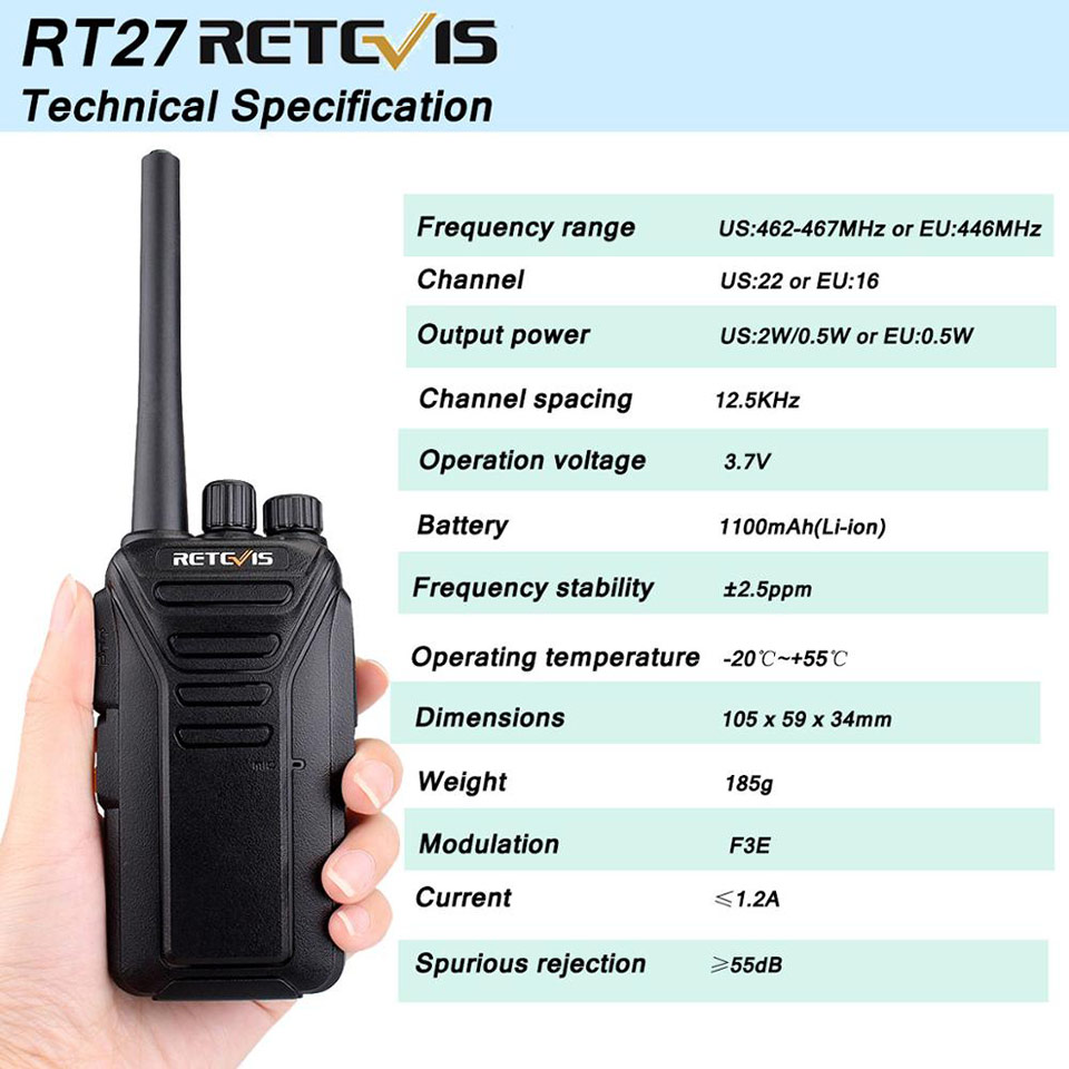 RT27 RETEVIS PMR carga 10