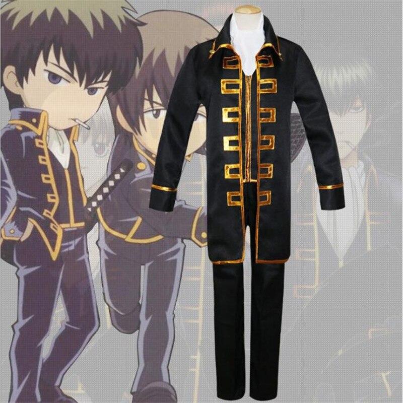 Japanese Anime Gintama Okita Sougo Cosplay Costume Adult Boys Masquerade Uniform Stage Suit Free Shipping