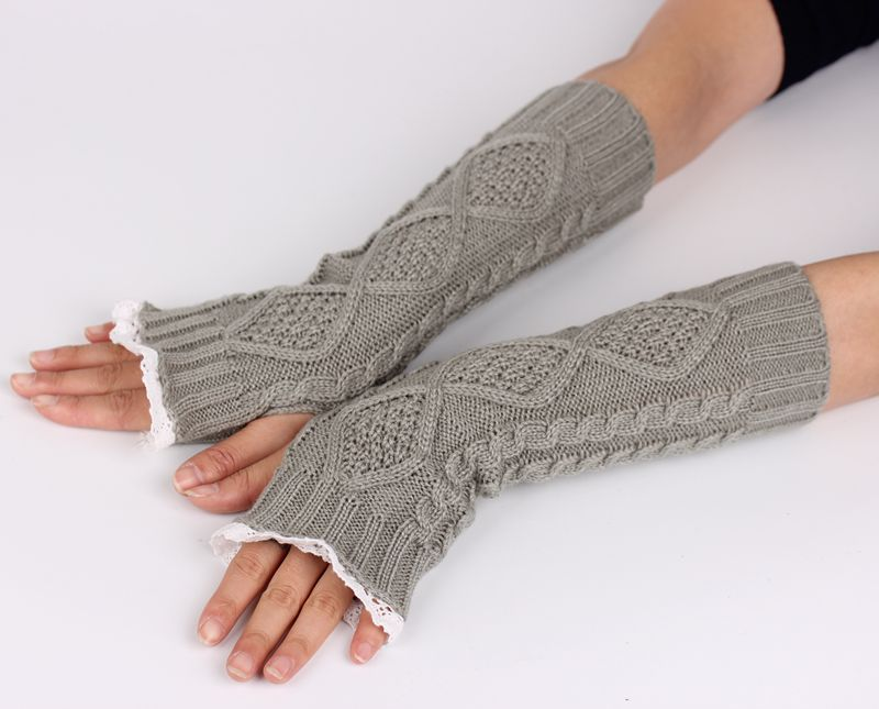 New Pure Color Hand Long Mitten Glove Women Knitted Wrist Elbow Glovers Lace Arm Fingerless Gloves Winter Unisex Soft SC5517+25