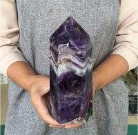 1.2kg Big size Natural Dream Amethyst Quartz Obelisk Crystal Wand Point Healing Fengshui for home decoration 20cm