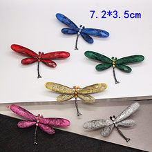 Ajojewel Hot Selling Red/Green/Blue/Grey/Rose Red/Light Yellow Dragonfly Brooches For Women Fashion Insect Animal Pin(China)