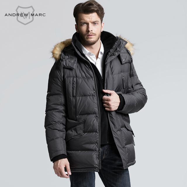 ANDREW MARC 2016 Hombre Pato Abajo Media Larga Sección Invierno Nieve Caliente-custodia de Espesor Gris Pato Parka Outwear TM6UD206