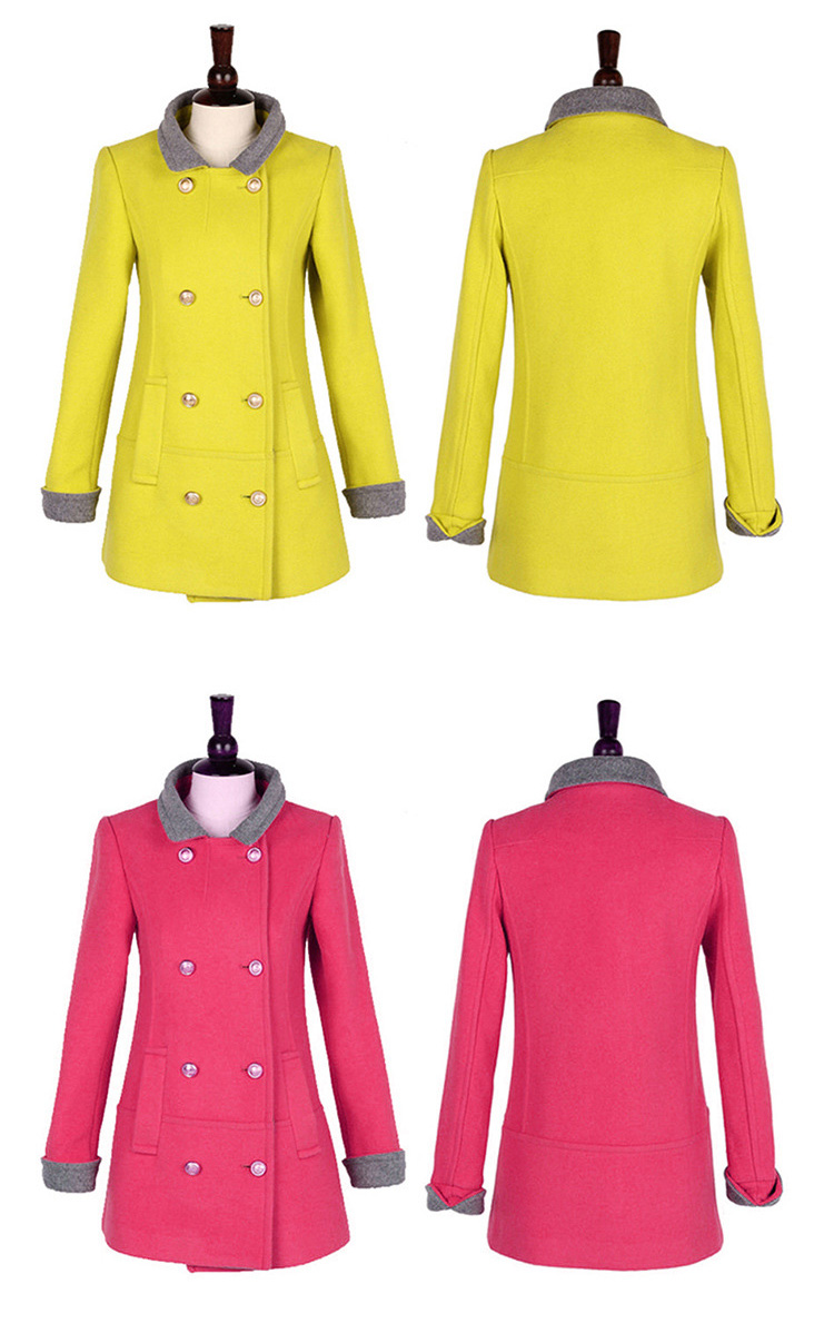 Manteaux Turn Red Down Ayunsue Chaud Trench Mode Abrigos Yellow rose Femmes Double Pour Breasted Manteau De Mujer Laine Col Green blue orange Nouvelle 2018 Lx1907 77rqpFOgwx