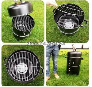 Image 5 - Metal 3 in 1 barbekü ızgara kavurma sigara içen vapur barbekü ızgara taşınabilir açık kamp kömür sobası pişirme araçları aksesuarları