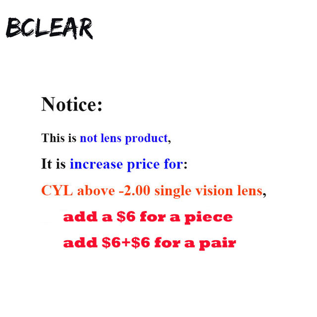 BCLEAR This can't be order alone,Increase used for CYL above -200 single vision lens