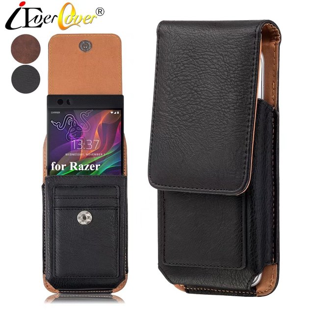 pretty nice 7cdcb 44ff7 US $9.26 24% OFF Premium Vertical Leather Case Holster Cover Swivel Belt  Clip for Razer Phone 2 Phone2 Phone Smartphone Pouch Bag-in Holsters &  Clips ...