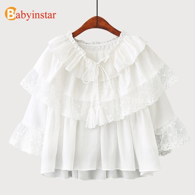 983316087d2 Babyinstar 2018 Girls Shirt Summer Children Clothing Girl Clothes Lace Net  Yarn Tops Girls Shirts Fashion Lacing Blouses